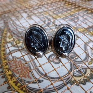Trojan Silver and Hematite Cuff Links